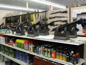 Meadville gunshop interior, new and used guns